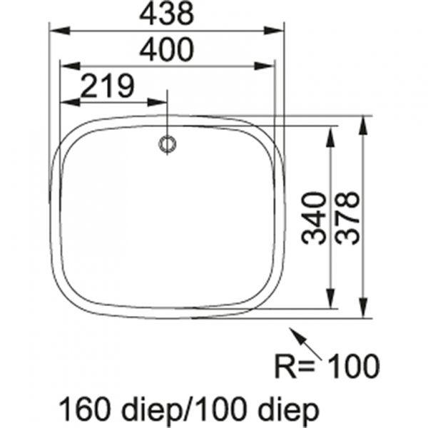Franke Eox 210-100 1 1/2 Spoelbak 127.0033.021 Vlakbouw - Opbouw
