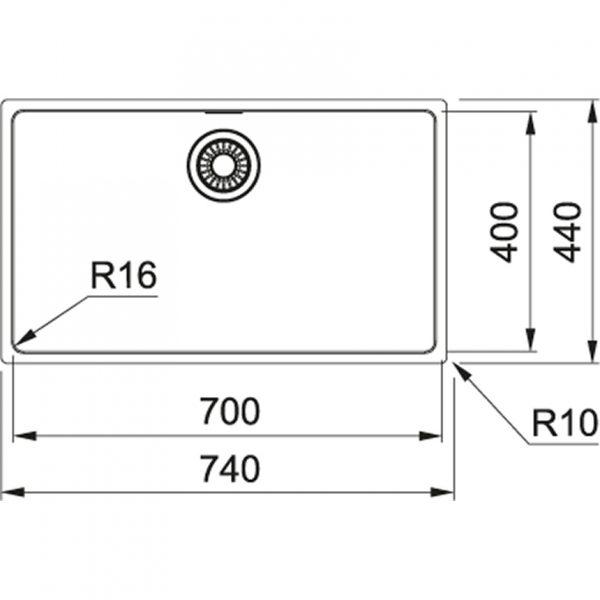 Franke Maris Mrx 210-70 Rvs Spoelbak 127.0568.039 Inbouw - Opbouw - Onderbouw Spoelbak