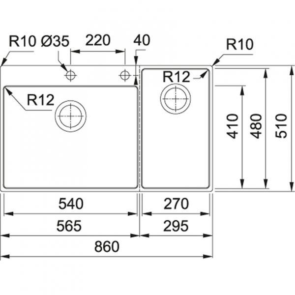 Franke Box Center Bwx 2204-54-27 Bl Spoelbak Rvs 127.0538.259 Inclusief Accessoires Opbouw Of Vlakbouw Spoelbak