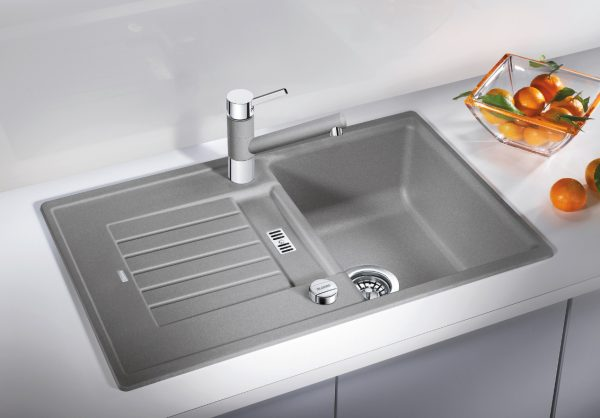 Blanco Zia 45 S 520626 Spoelbak Silgranit Parelgrijs Inclusief Draaiknopbediening Omkeerbaar Onderbouw Of Opbouw