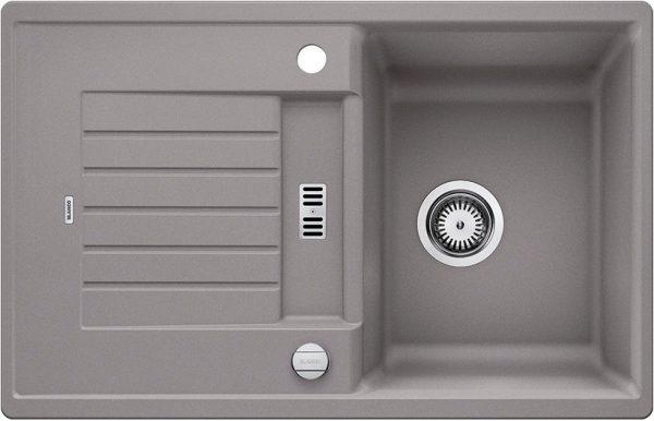 Blanco Zia 45 S 514717 Spoelbak Silgranit Aluminium Metallic Inclusief Draaiknopbediening Omkeerbaar Onderbouw Of Opbouw