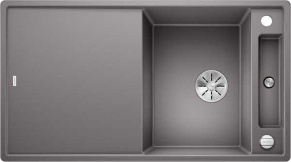 Blanco Axia Iii 5-S 523217 Spoelbak Silgranit Aluminium Metallic Inclusief Draaiknopbediening Inclusief Glazen Snijplank Omkeerbaar Onderbouw Of Opbouw