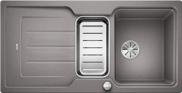 Blanco Classic Neo 6 S 524119 Spoelbak Silgranit Aluminium Metallic Inclusief Draaiknopbediening Inclusief Accessoires Omkeerbaar Opbouw