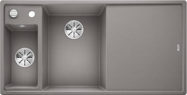 Blanco Axia Iii 6 S 524645 Spoelbak Links Silgranit Aluminium Metallic Inclusief Draaiknopbediening Inclusief Houten Snijplank Opbouw Of Onderbouw