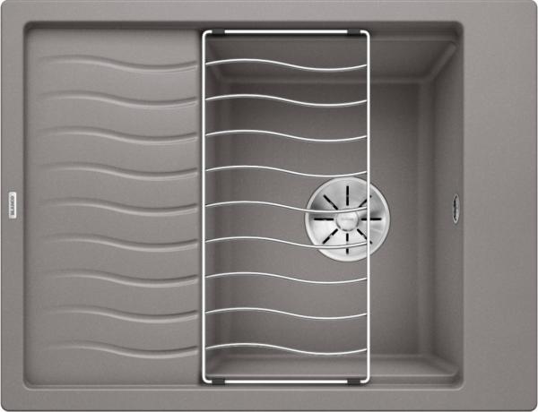 Blanco Elon 45 S 524826 Spoelbak Silgranit Aluminium Metallic Inclusief Rooster Omkeerbaar Onderbouw Of Opbouw