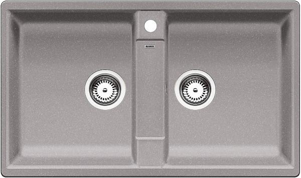 Blanco Zia 9 516677 Dubbele Spoelbak Silgranit Aluminium Metallic Onderbouw Of Opbouw