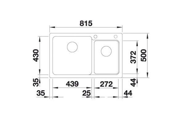 Blanco Naya 8 520594 Anderhalve Spoelbak Links Silgranit Parelgrijs Onderbouw Of Opbouw