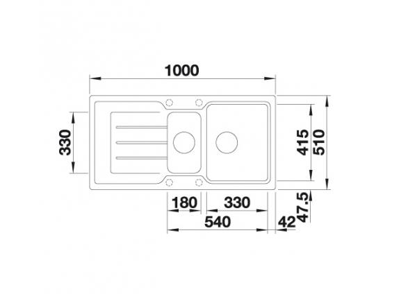 Blanco Classic Neo 6 S 524117 Spoelbak Silgranit Antraciet Inclusief Draaiknopbediening Inclusief Accessoires Omkeerbaar Opbouw