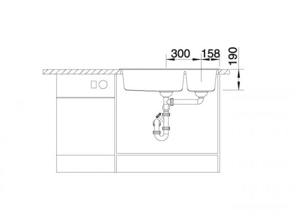 Blanco Metra 9 513268 Anderhalve Spoelbak Links Silgranit Aluminium Metallic Onderbouw Of Opbouw