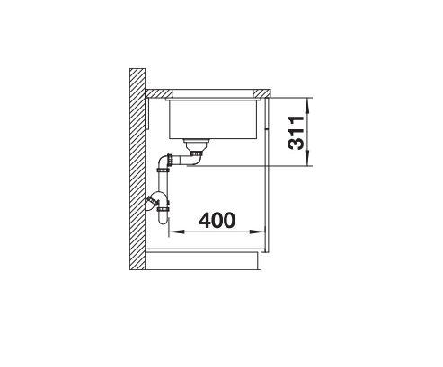 Blanco Subline 500-U 514506 Spoelbak Keramiek Wit Onderbouw