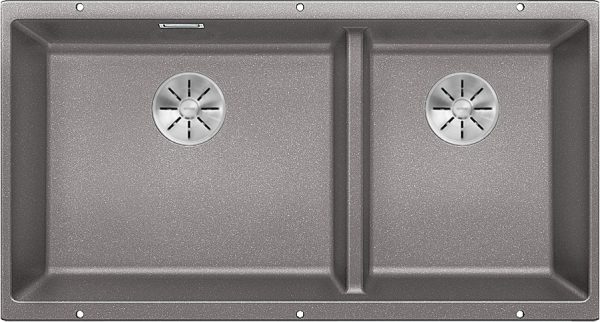 Blanco Subline 480/320-U 523586 Anderhalve Spoelbak Links Silgranit Aluminium Metallic Onderbouw
