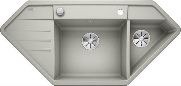 Blanco Lexa 9 E 524993 Spoelbak Silgranit Parelgrijs Inclusief Draaiknopbediening Onderbouw Of Opbouw