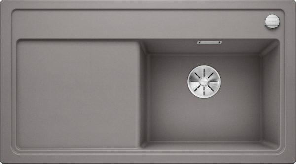 Blanco Zenar 5 S 523936 Spoelbak Silgranit Aluminium Metallic Inclusief Draaiknopbediening Onderbouw Of Opbouw