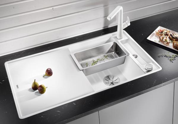 Blanco Axia Iii 5 S-F 523236 Spoelbak Silgranit Café Inclusief Draaiknopbediening Inclusief Glazen Snijplank Omkeerbaar Vlakbouw Of Onderbouw
