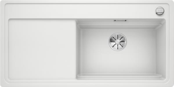 Blanco Zenar Xl 6 S-F Steamerplus 524085 Spoelbak Rechts Silgranit Wit Inclusief Draaiknopbediening Inclusief Houten Snijplank Vlakbouw Of Onderbouw
