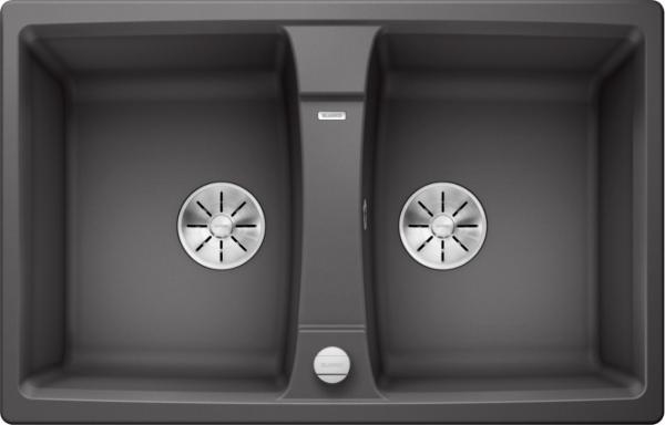 Blanco Lexa 8 524951 Dubbele Spoelbak Silgranit Rotsgrijs Inclusief Draaiknopbediening Omkeerbaar Onderbouw Of Opbouw