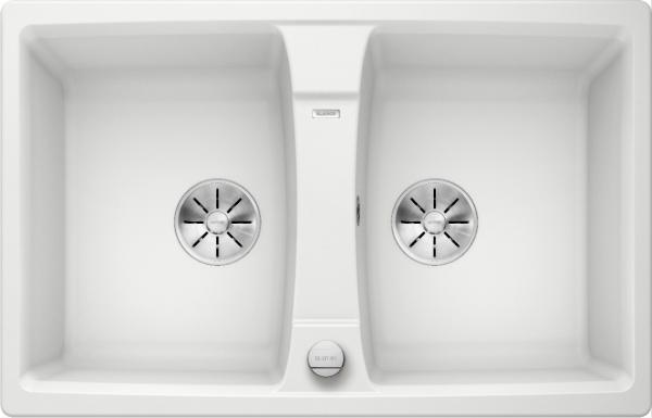 Blanco Lexa 8 524954 Dubbele Spoelbak Silgranit Wit Inclusief Draaiknopbediening Omkeerbaar Onderbouw Of Opbouw