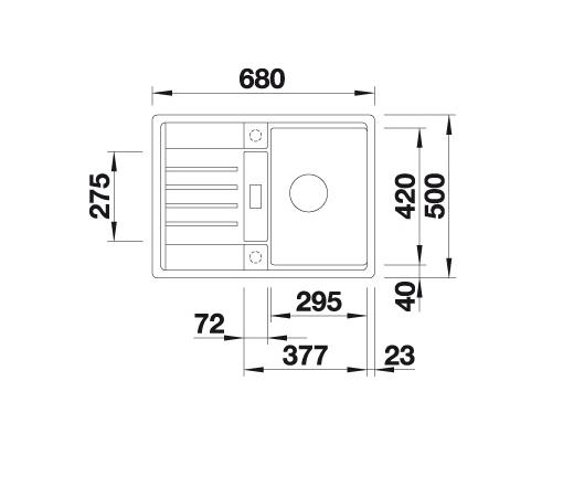 Blanco Lexa 40 S 524882 Spoelbak Silgranit Aluminium Metallic Inclusief Draaiknopbediening Omkeerbaar Onderbouw Of Opbouw