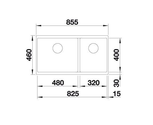Blanco Subline 480/320-U 523588 Anderhalve Spoelbak Links Silgranit Wit Onderbouw