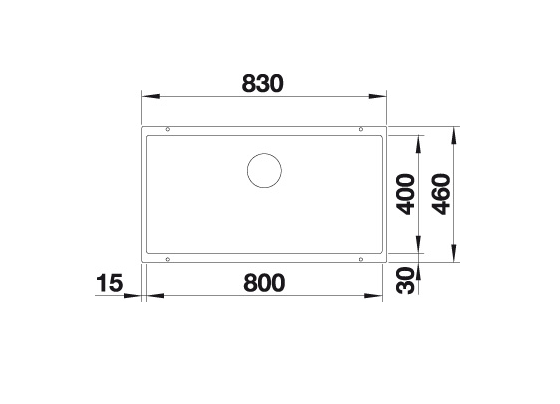 Blanco Subline 800-U 523145 Spoelbak Silgranit Wit Onderbouw