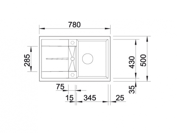 Blanco Metra 45 S 513035 Spoelbak Silgranit Antraciet Inclusief Draaiknopbediening Onderbouw Of Opbouw