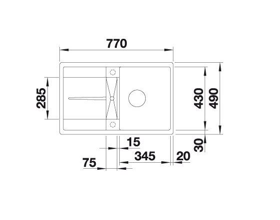 Blanco Metra 45 S-F 519081 Spoelbak Silgranit Antraciet Omkeerbaar Vlakbouw Of Onderbouw