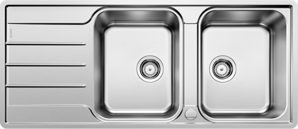 Blanco Lemis 8 S-If 523037 Dubbele Spoelbak Rvs Inclusief Draaiknopbediening Omkeerbaar Vlakbouw Of Opbouw