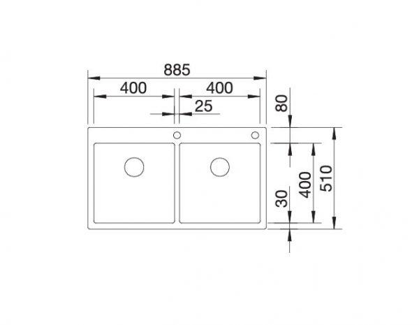 Blanco Claron 400/400-If/a Durinox 525018 Dubbele Spoelbak Inclusief Pushcontrol Bediening Vlakbouw Of Opbouw