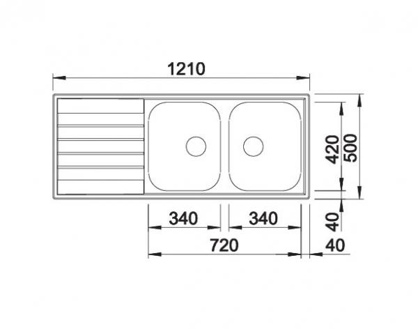 Blanco Livit 8 S 514798 Dubbele Spoelbak Rvs Omkeerbaar Opbouw