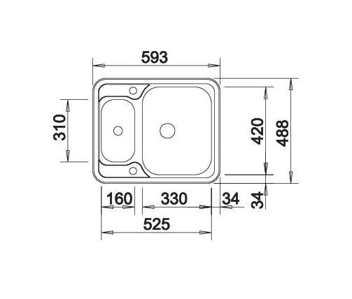 Blanco Lantos 6-If 516676 Anderhalve Spoelbak Rvs Inclusief Draaiknopbediening Omkeerbaar Vlakbouw Of Opbouw