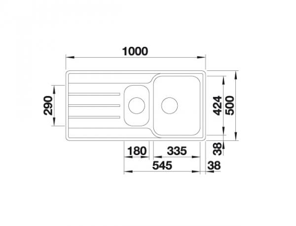 Blanco Lemis 6 S-If 523032 Anderhalve Spoelbak Rvs Omkeerbaar Vlakbouw Of Opbouw