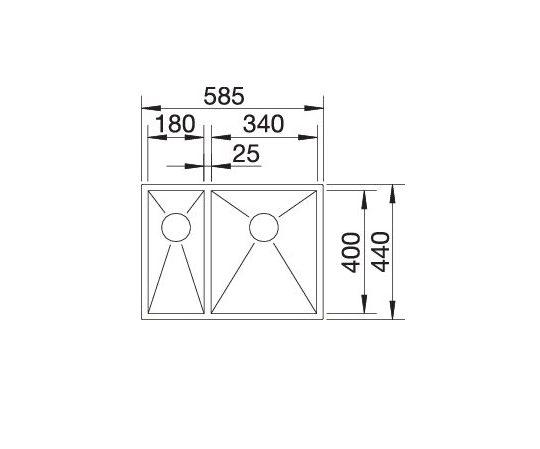 Blanco Zerox 340/180-If 521611 Anderhalve Spoelbak Links Rvs Vlakbouw Of Opbouw