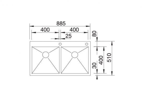 Blanco Zerox 400/400-If/a 521648 Dubbele Spoelbak Rvs Inclusief Pushcontrol Bediening Vlakbouw Of Opbouw