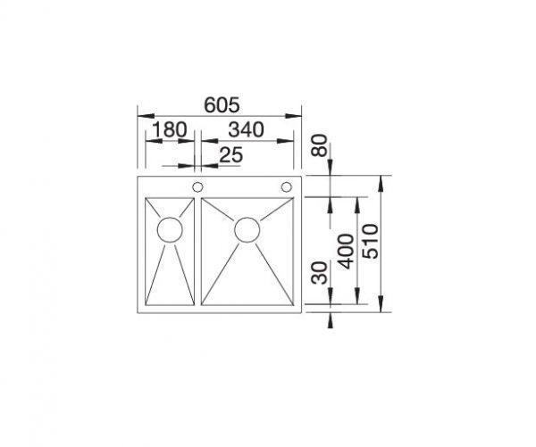 Blanco Zerox 340/180-If/a 521642 Anderhalve Spoelbak Rechts Rvs Inclusief Pushcontrol Bediening Vlakbouw Of Opbouw