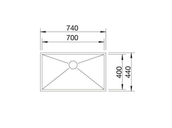Blanco Zerox 700-If 521592 Spoelbak Rvs Vlakbouw Of Opbouw