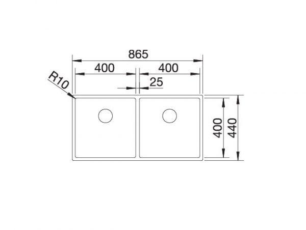 Blanco Claron 400/400-If Durinox 525017 Dubbele Spoelbak Rvs Vlakbouw Of Opbouw