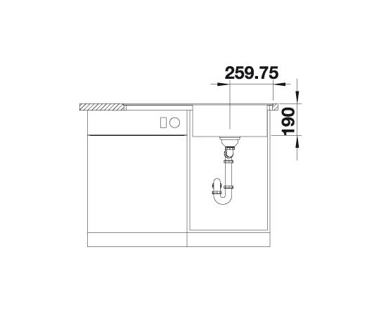 Blanco Zenar 5 S-F 523873 Spoelbak Rechts Silgranit Antraciet Inclusief Draaiknopbediening Vlakbouw Of Onderbouw
