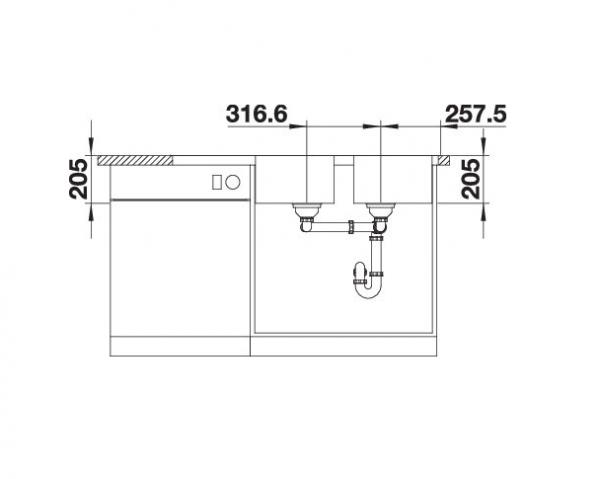 Blanco Classimo 8-If 525332 Dubbele Spoelbak Rvs Inclusief Pushcontrol Bediening Omkeerbaar Vlakbouw Of Opbouw