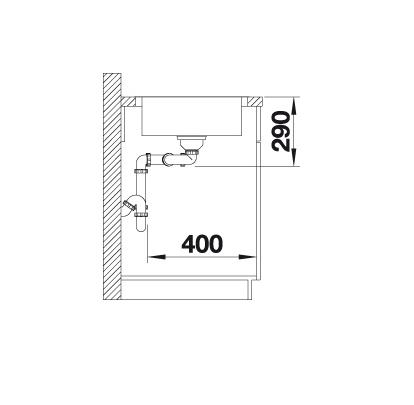 Blanco Lantos 8-If Compact 520434 Dubbele Spoelbak Rvs Omkeerbaar Vlakbouw Of Opbouw
