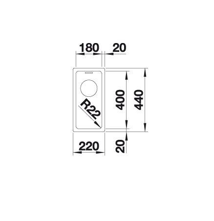 Blanco Andano 180-U 522952 Spoelbak Rvs Inclusief Draaiknopbediening Onderbouw