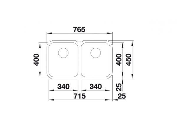 Blanco Supra 340/340-U 519716 Dubbele Spoelbak Rvs Onderbouw