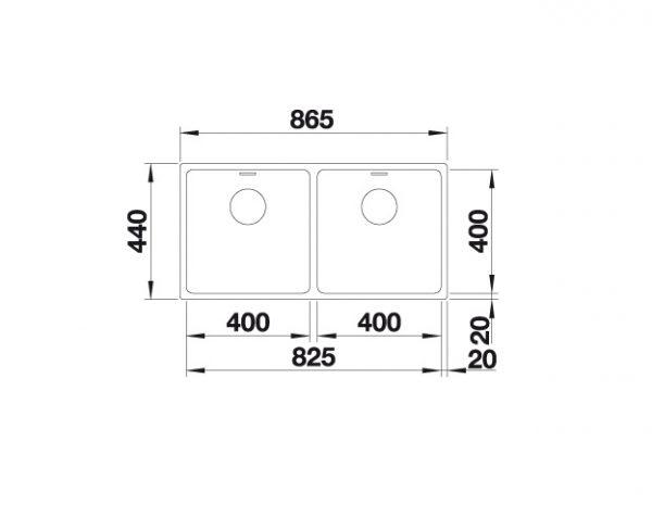 Blanco Andano 400/400-U 522988 Dubbele Spoelbak Rvs Inclusief Draaiknopbediening Onderbouw