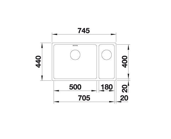 Blanco Andano 500/180-U 522990 Anderhalve Spoelbak Rechts Rvs Inclusief Draaiknopbediening Onderbouw
