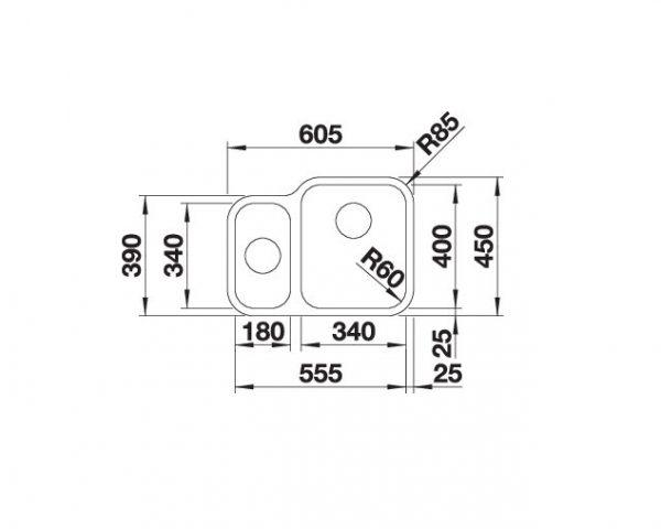 Blanco Supra 340/180-U 525215 Anderhalve Spoelbak Rechts Rvs Inclusief Draaiknopbediening Onderbouw