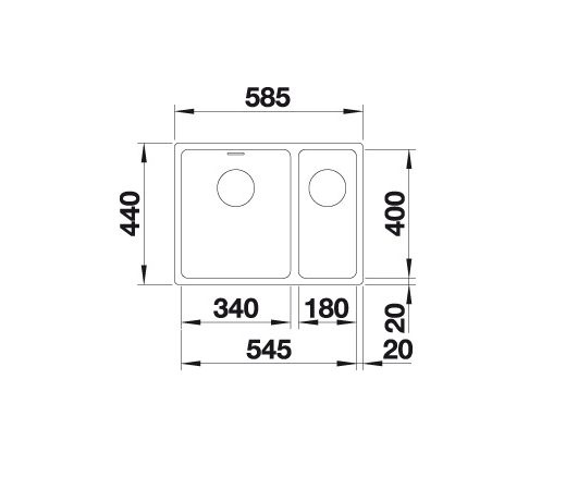 Blanco Andano 340/180-U 522980 Anderhalve Spoelbak Links Rvs Inclusief Draaiknopbediening Onderbouw