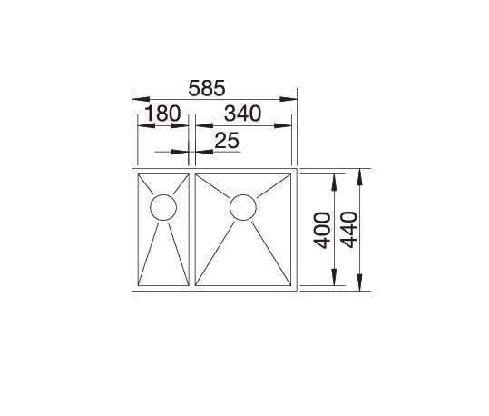 Blanco Zerox 340/180-U 521613 Anderhalve Spoelbak Links Rvs Onderbouw