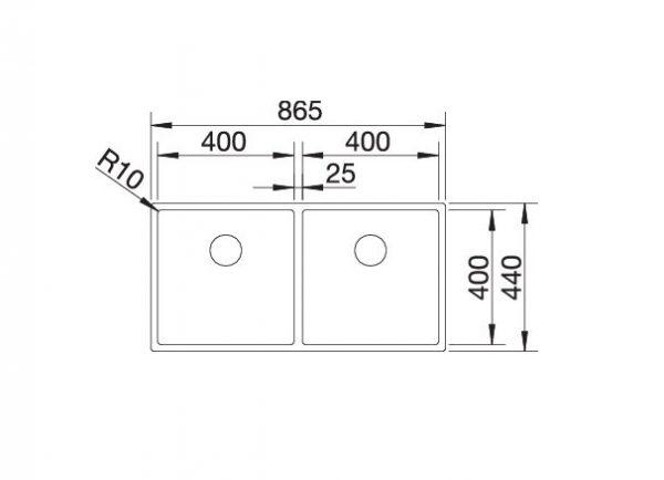 Blanco Claron 400/400-U Durinox 525016 Dubbele Spoelbak Rvs Onderbouw