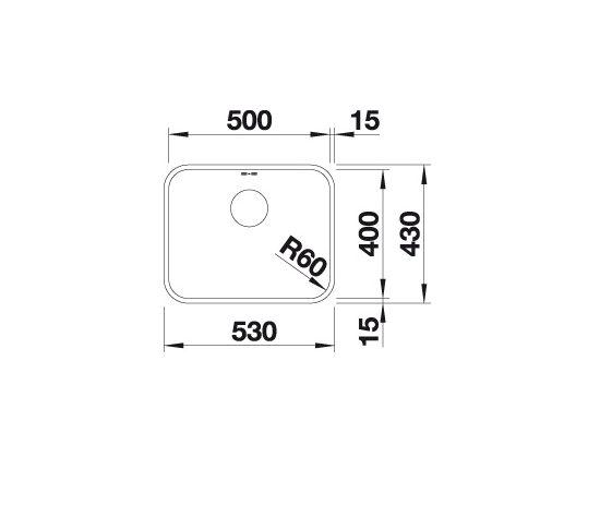 Blanco Supra 500-U 518206 Spoelbak Rvs Inclusief Draaiknopbediening Onderbouw