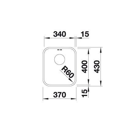 Blanco Supra 340-U 518200 Spoelbak Rvs Inclusief Draaiknopbediening Onderbouw