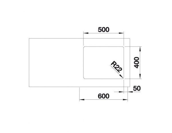 Blanco Andano 500-U 522968 Spoelbak Rvs Inclusief Draaiknopbediening Onderbouw